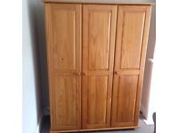 Pine triple wardrobe with free delivery