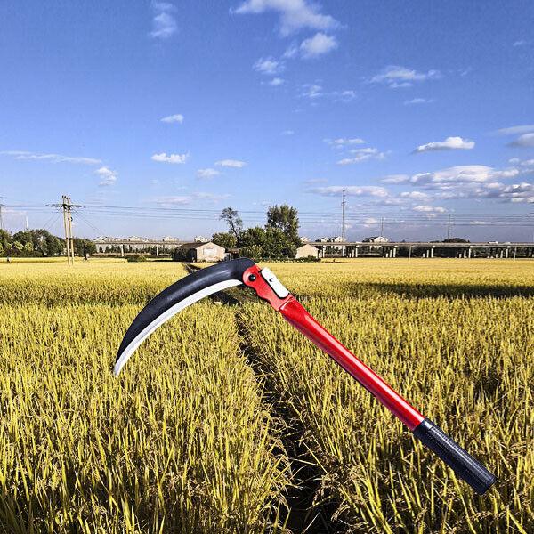 "16"" Foldable  Scythe Sickle Steel Mowing Knife Grass Weed Cutter Yard Tending"