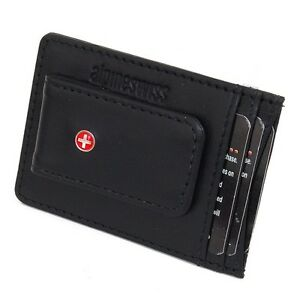 Leather-Money-Clip-Magnet-Slim-Thin-Front-Pocket-Wallet-Alpine-Swiss-ID-Cards