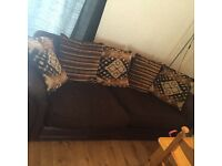 3 and 1 seater brown material couch £60