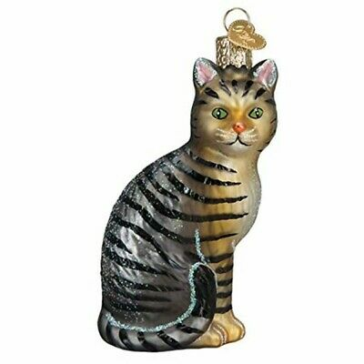 Old World Christmas 12554 Glass Blown Tabby Cat Ornament
