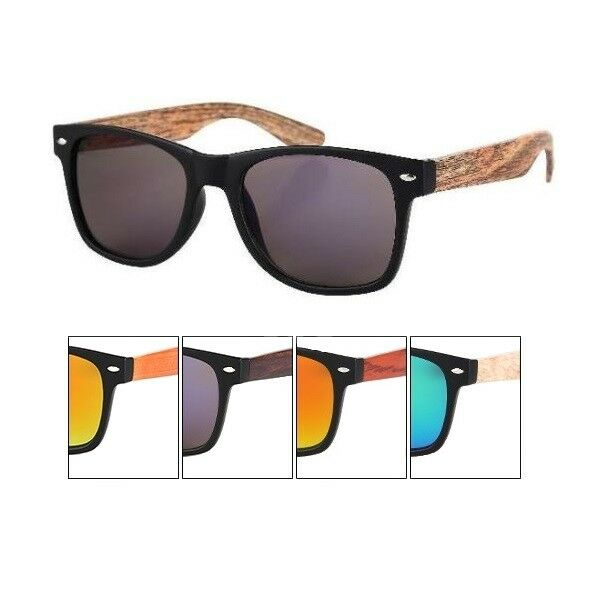 Sonnenbrille Viper für Damen Herren Vintage Retro Holz Style Blues V-1241