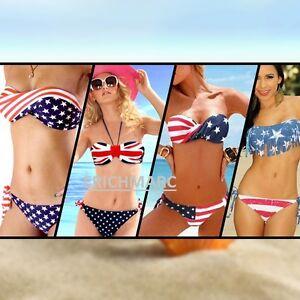 caricamento dellimmagine in corso bikini costume da bagno imbottito donna  bandiera americana db105913336