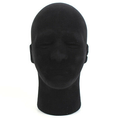 Male Men Black Styrofoam Foam Mannequin Manikin Head Stand Hat Headphones Wigs