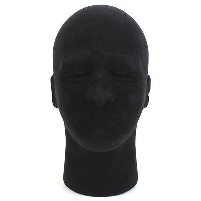 Male Men Black Styrofoam Foam Mannequin Manikin Head Stand Hat Headphones Wigs