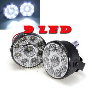 12V 2PCS 9LED DRL Front Fog Tail Lamp Round Daytime Driving Bulb kit Lights