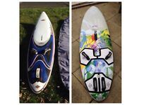 Windsurfing set, sails, boards, Carbon booms, masts, harness, find, extensions, etc