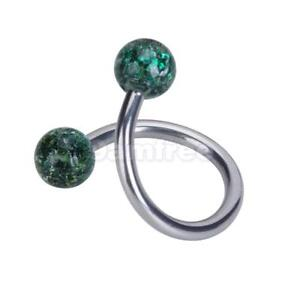 14G-Ball-Spiral-Twist-Barbell-Belly-Navel-Ring-bar-body-piercing-jewelry-Green