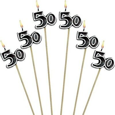 50th Birthday Candles Cake Toppers Fiftieth Fifty Party Decorations Supplies ~ 6 (Birthday Cake Supplies)