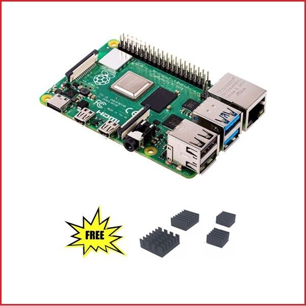 Raspberry Pi 4 Model B (4GB) & Free1 set 4pcs Copper Aluminum Heatsink Computers/Tablets & Networking