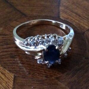 Gold diamonds and semi precious stone ring