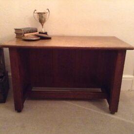 Vintage Oak School Library Desk Table