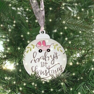 Baby's First Christmas Tree Ornament Girl 3D Metal with Pink Ribbon New ()