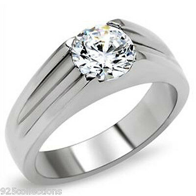7 mm 2.30 Ct. 316 Stainless Steel Solitaire April Clear Stone Men Ring Size 6-13