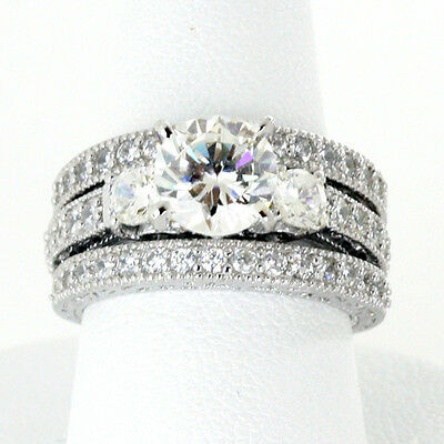 Three Stone Engagement Ring Set Round 6mm Aaa Cz Sterling...