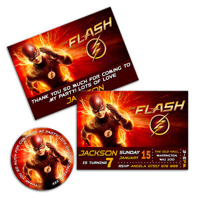 THE FLASH MARVEL PERSONALISED BIRTHDAY PARTY INVITATIONS STICKERS KIDS INVITES - Cheap Party Invitations