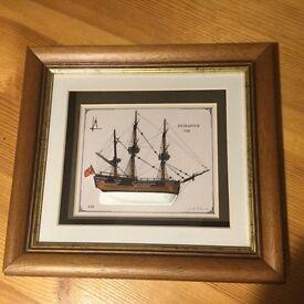 HMS Endeavour, Half Model Ship in Frame - AS NEW
