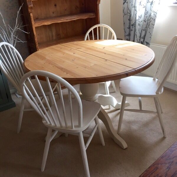 solid pine round dining table and 4 chairs pretty shabby chic stylesolid pine round dining table and 4 chairs pretty shabby chic. beautiful ideas. Home Design Ideas