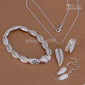 925 Sterling Silver Fashion Necklace+Earrings set