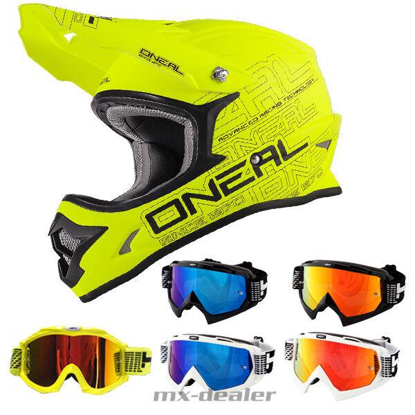 100/% Strata Occhiali Cross ONEAL 3 series motocross casco 2019 Matt giallo neon