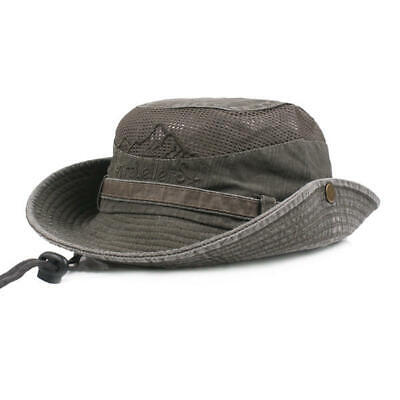 Mens Cotton Embroidery Bucket Hat Outdoor Fishing Hat Mesh Breath Sunshade Cap