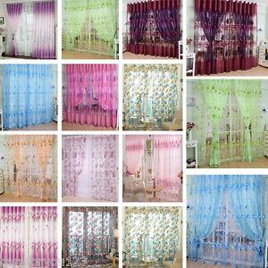 Modern floral tulle voile door window curtain drape panel sheer scarf
