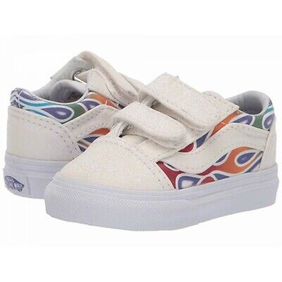 Vans OLD SKOOL Sparkle Flame Rainbow Toddler Shoes Size 6