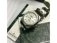 Full stainless tapisserie waffle face automatic mens watch Audemars clear back back boxed booklets