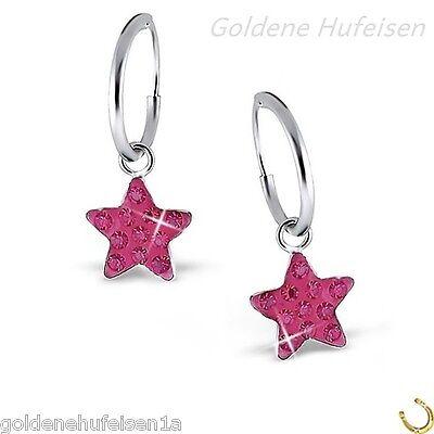 Pink Kristall Stern Creolen Ohrringe 925 Echt Silber Kinder Geschenkidee