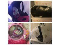 BABY STUFF FOR SALE - CAR SEAT & ISOFIX BASE, CAR SEAT ACCESSORIES, COT PROJECTOR
