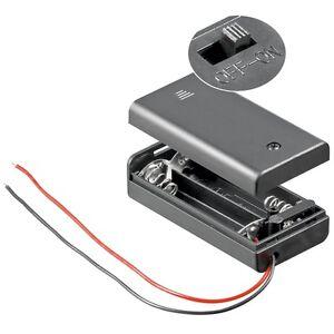 Batteriehalter 2x AA mit EIN-AUS Schalter / Batteriefach 2x Mignon geschlossen