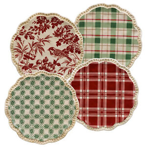 Grasslands Road Christmas Appetizer Plates Style: Red Plaid