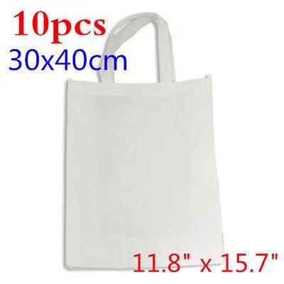 10pcs 11.8 X 15.7 Blank Sublimation Non-woven Diy Shopping Bags Tote Bag White