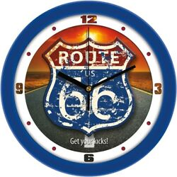 Rustic Vintage Style Route-66 Retro 11.5 Wall Clock by Suntime