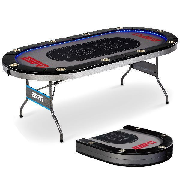 ESPN 10 Player Poker Table Premium with In-Laid LED Lights, No Assembly Required