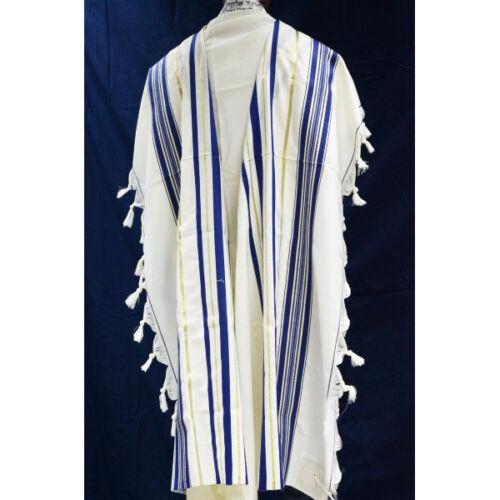 TRADITIONAL WOOL TALLIT WITH BLUE & GOLD STRIPES Jewish Prayer Shawl SIZE 60