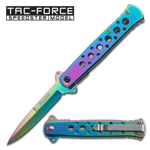 "7"" TAC FORCE Rainbow Spectrum STILETTO Spring Assisted Open Folding Pocket Knife"