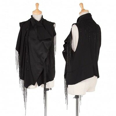 (SALE) ANN DEMEULEMEESTER Beads decoration 2WAY vest Size 38(K-25493)