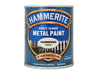 Hammerite White Hammered Paint 750ml Direct to Rust Metal Paint 8 Year Protection