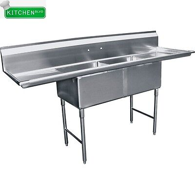 2 Compartment Sink 18 X 18 W 2 Drainboards Nsf