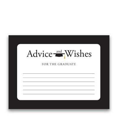 Paper Frenzy Advice and Wishes Black Border for the Graduate Cards for Party (Graduation Border Paper)
