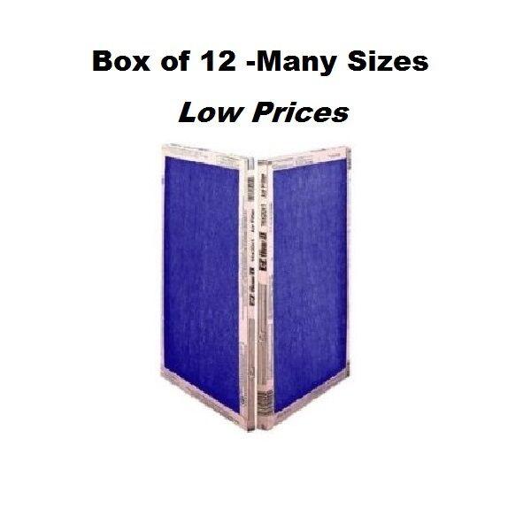 12 PACK -  MANY SIZES -  EZ Flow II Spun Fiberglass Furnace Filters Disposable