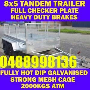 8x5 galvanised tandem box trailer with cage 2000kgs 70x50 chassis sa