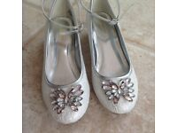 Monsoon silver wedding bridesmaid holy communion shoes Size 4