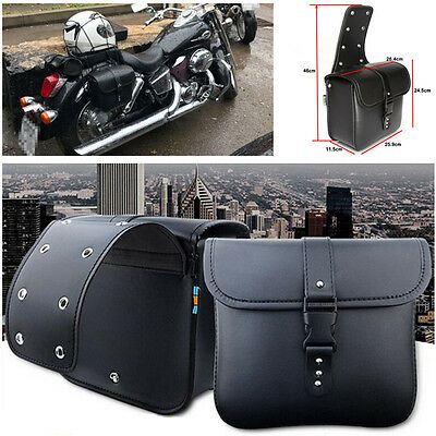 2 PCS Mini Motorcycle PU Leather Saddle Bags Side Storage Tool Pouch For