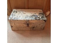 Vintage wooden chest very old and beautiful storage box