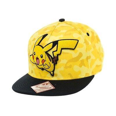 Pokemon Unisex Pikachu Yellow Camouflage Snapback Baseball Cap Brand New