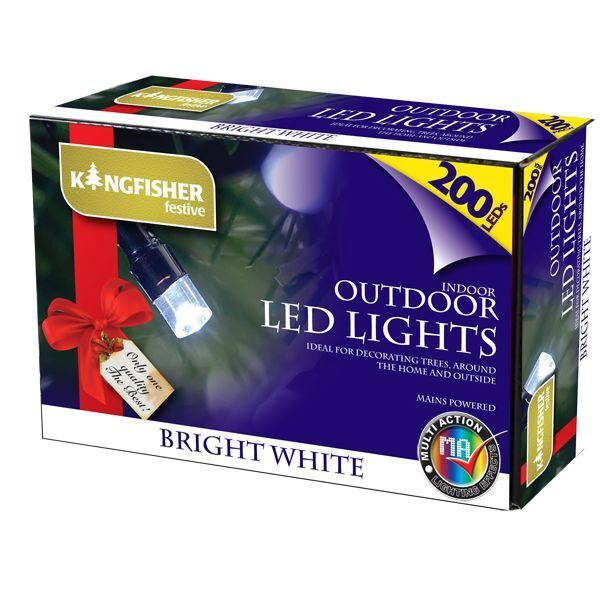 200 MULTI ACTION LED WHITE FAIRY LIGHTS CHRISTMAS XMAS TREE OUTDOOR INDOOR MAINS