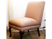 Bespoke vintage chair reupholstered in pink herringbone wool