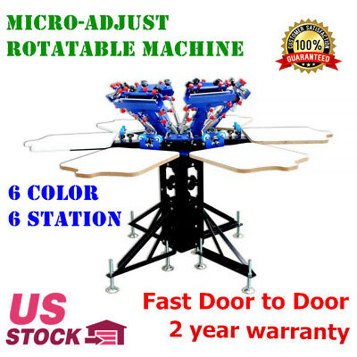 Us-6 Color Manual Screen Printing Press Machine T-shirt Screen Print Equipment